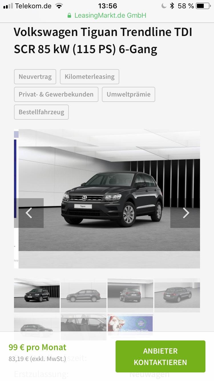 VW Tiguan Leasing 99 € im Monat bei Inanspruchnahme der Unweltprämie