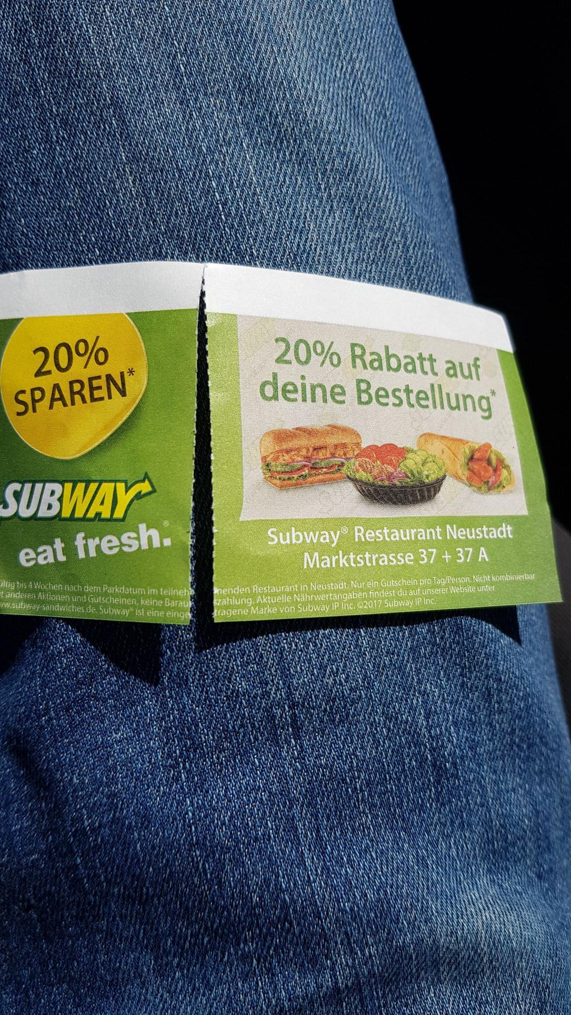 20% auf Subway Bestellung [Lokal 31535 Neustadt am Rübenberge]