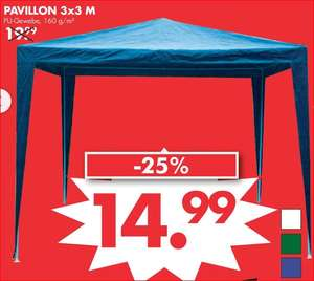 Pavillon 3 x 3 m, in den Farben weiß, grün oder blau für 14,99 Euro [Jawoll]