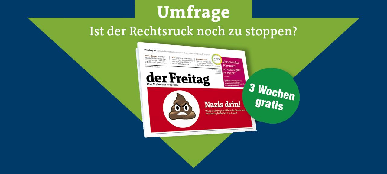 """Drei Ausgaben der Wochenzeitung """"der Freitag"""" gratis."""