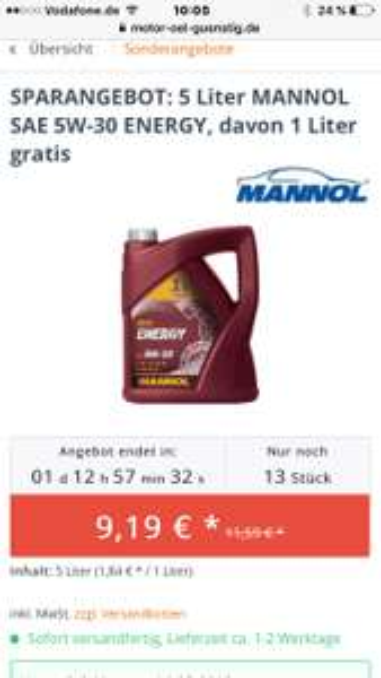 SPARANGEBOT: 5 Liter MANNOL SAE 5W-30 ENERGY, davon 1 Liter gratis