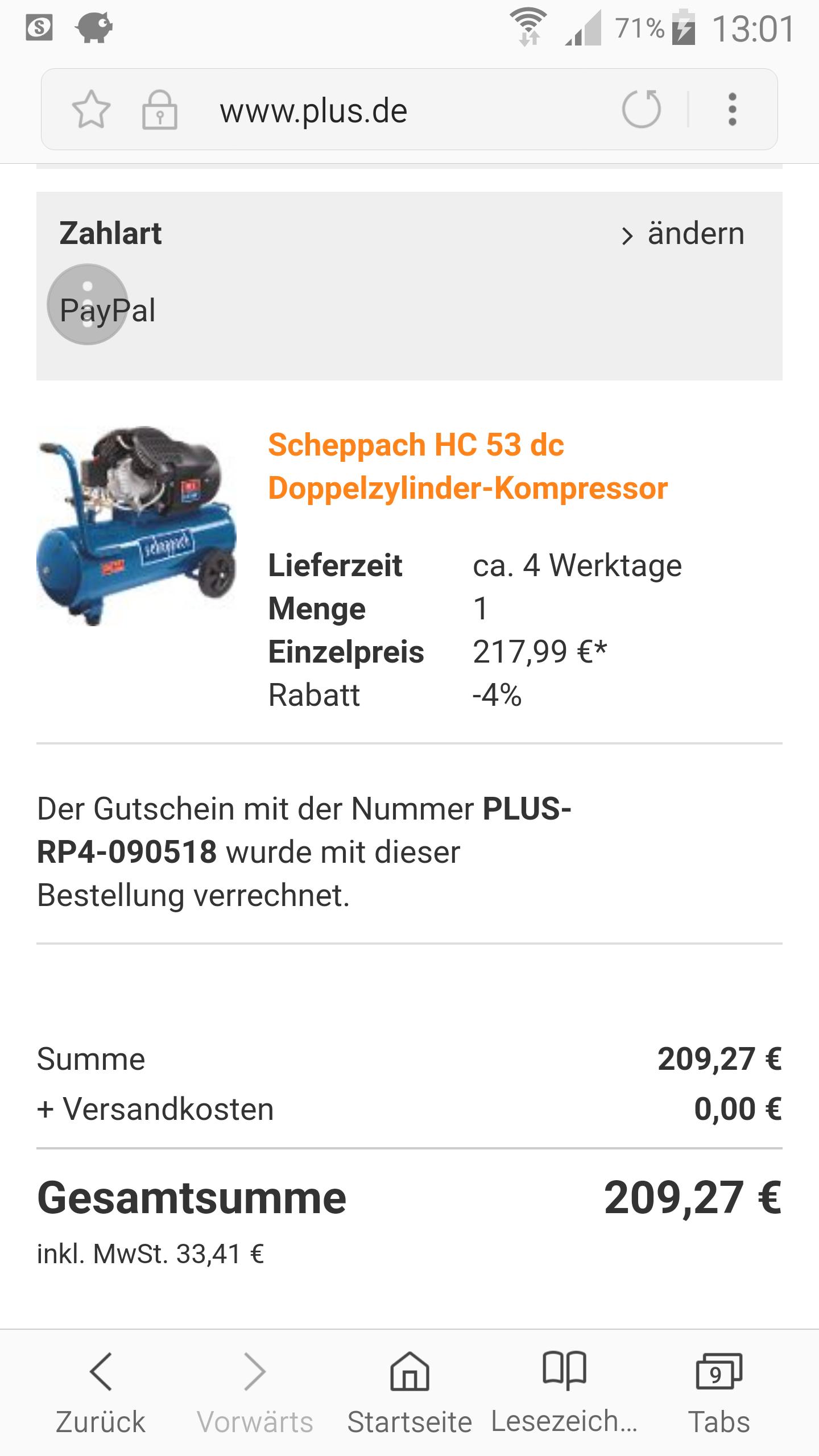 Scheppach HC 53 dc Doppelzylinder-Kompressor
