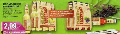 Krombacher Fassbrause 2 x Sixpack für 2,99 EUR  (25cent pro Flasche) zzgl. Pfand @Marktkauf Gütersloh