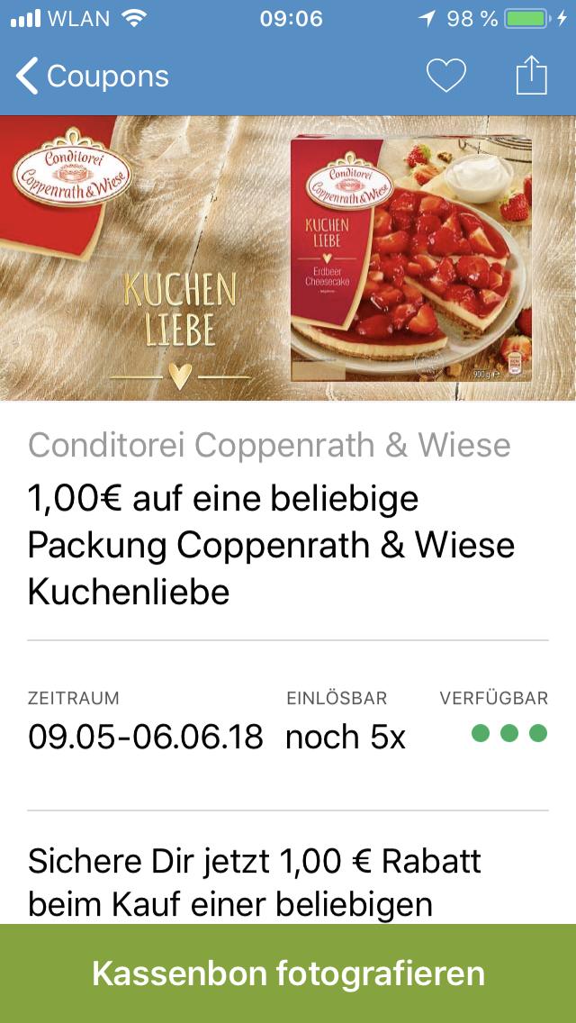( Coupies ) 1€ Rabatt bei Kauf Coppenrath & Wiese Kuchenliebe