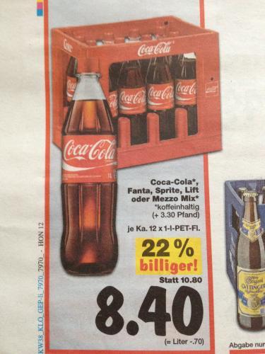 Coca Cola Kasten 12x1l nur 8,40€ plus 2l extra!