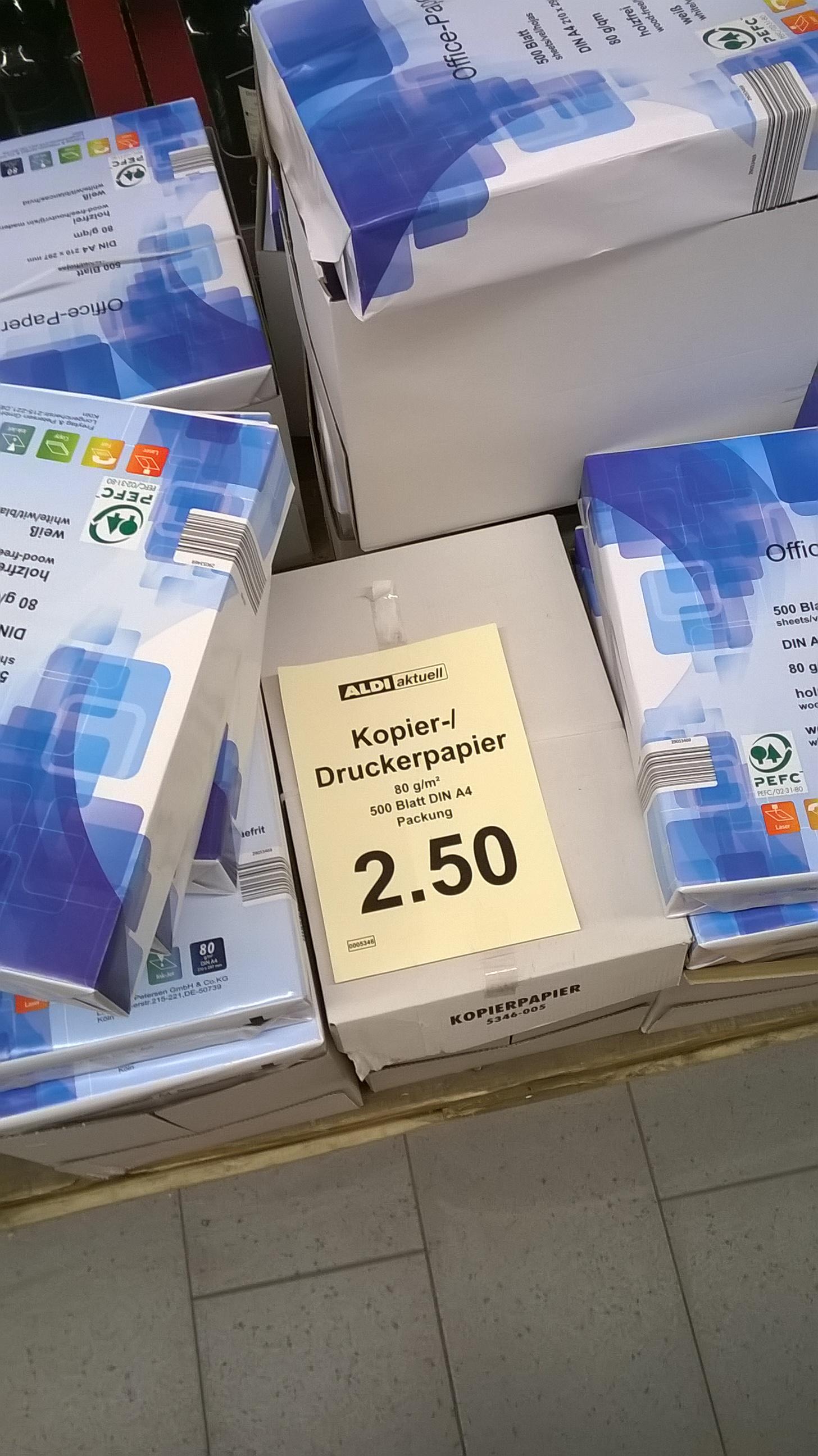 Kopierpapier 500 Blatt A4 80g/m² 2,50€