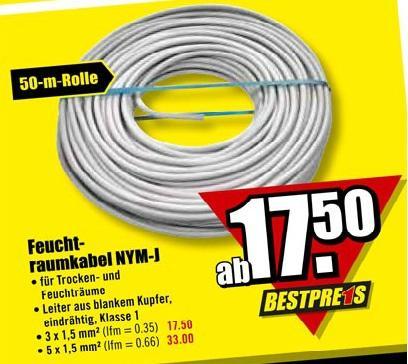 (offline) NYM-J 5 x 1,5 qmm 50 Meter - Elektro Kabel im B1 Baumarkt für 33€