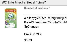 Rossmann: WC-Ente FRische-Siegel mit GS nur 1,79 Euro