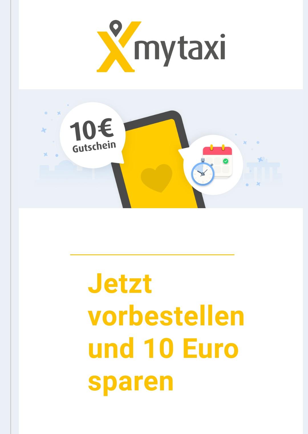 Mytaxi 10€ Gutschein bei Vorbestellung