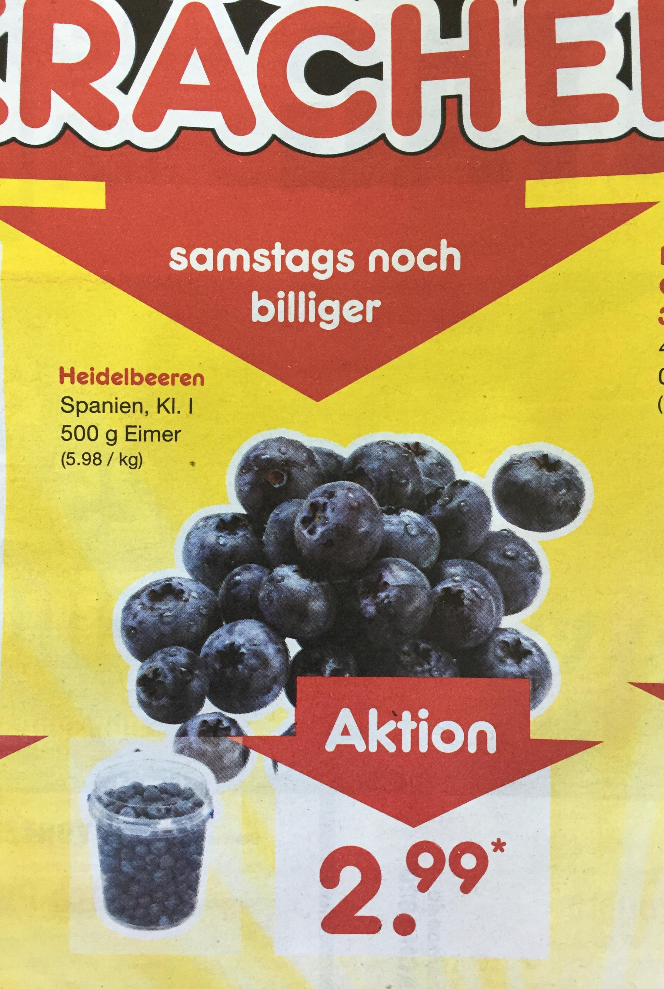 [Netto] Heidelbeeren 500g für 2,99€ (nur am 19.5)