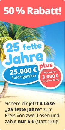 Lottohelden - 4 × Rubbellos 25 fette Jahre zum halben Preis