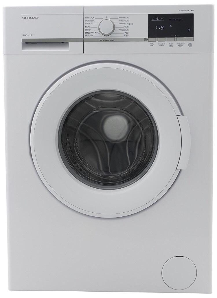 [Real] Sharp ES-GFB8143W3-DE Waschmaschine / 8kg / A+++/ 1400UpM/ Schnellwaschgang 15 min/ Aqua Stop/ weiß / Allergy Smart / Wellenform-Gehäuse / Bubble Drum / Unwuchtkontrolle / Schaumschutz / LED-Anzeige / Eco-Funktion