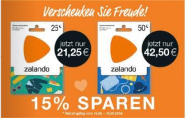 [Marktkauf] ab 14.05. Zalando Geschenkgutschein mit 15% Rabatt - 25€ oder 50€ für 21,25€ bzw. 42,50€