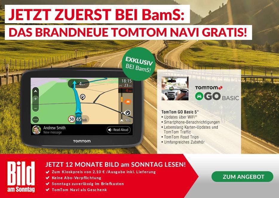 """Das neue Navi Tom Tom Go Basic 5"""" + 12 Monate Bild am Sonntag für 99,20€"""