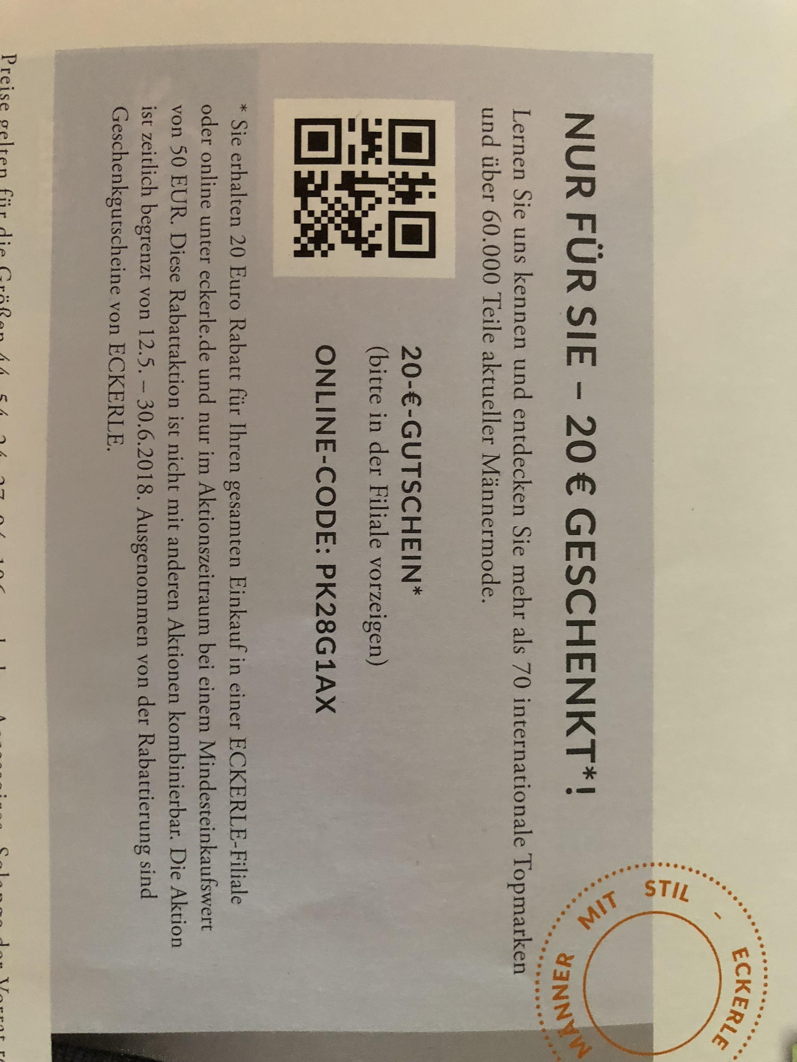 Eckerle Herrenmode 20 Euro geschenkt bei 50 Euro MBW (online+offline)