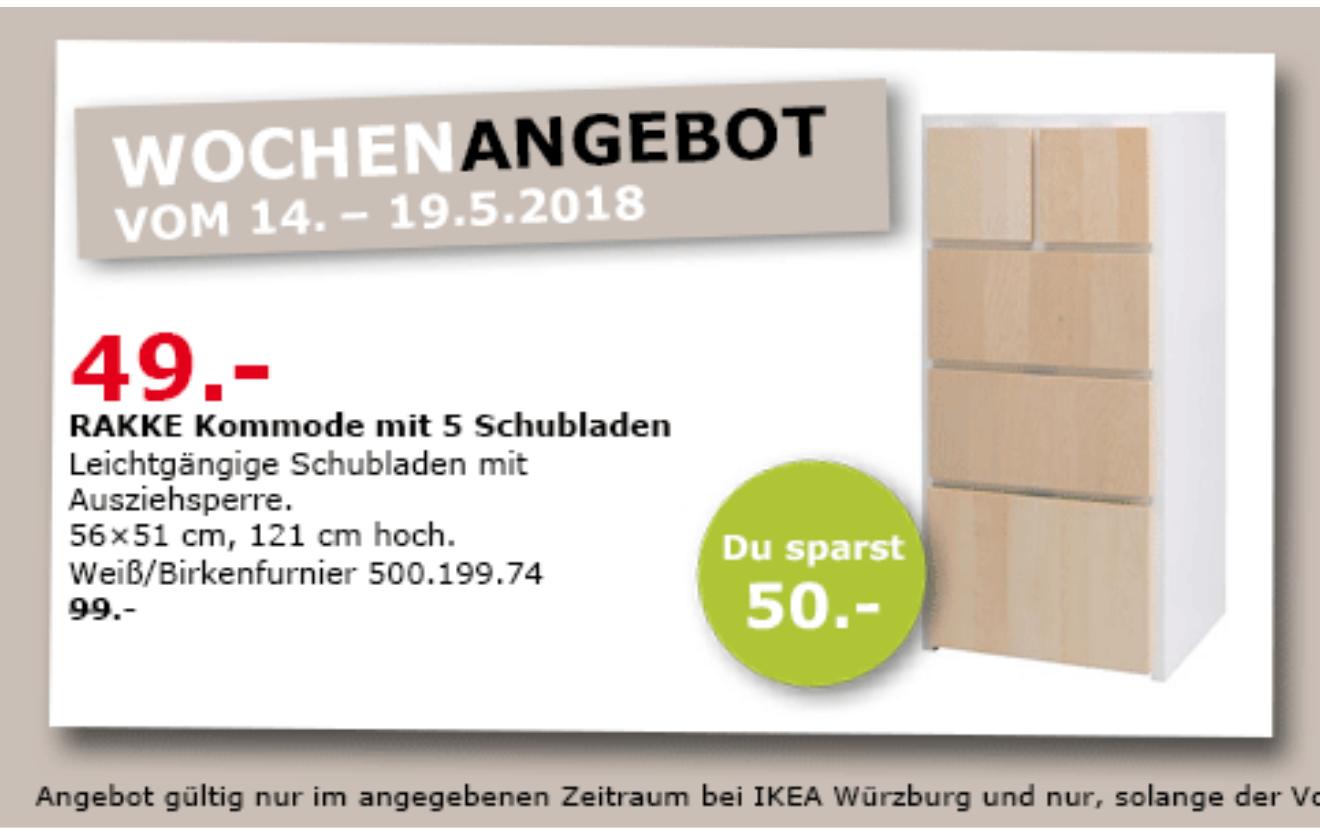 (Lokal) Ikea Würzburg RAKKE Kommode mit 5 Schubladen