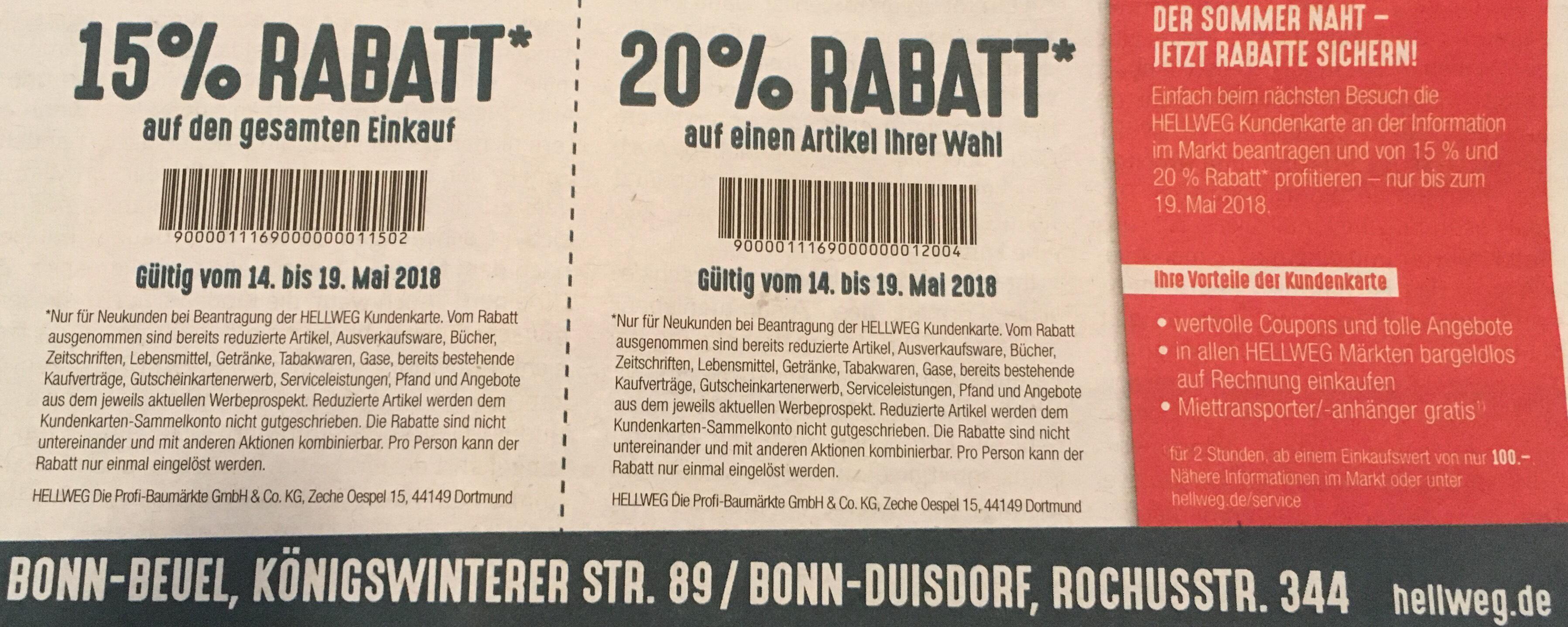 Bonn, Hellweg, 20% Rabatt auf einen Artikel und 15% auf den gesamten Einkauf bei Beantragung einer Kundenkarte nur noch heute am 19.05.2018