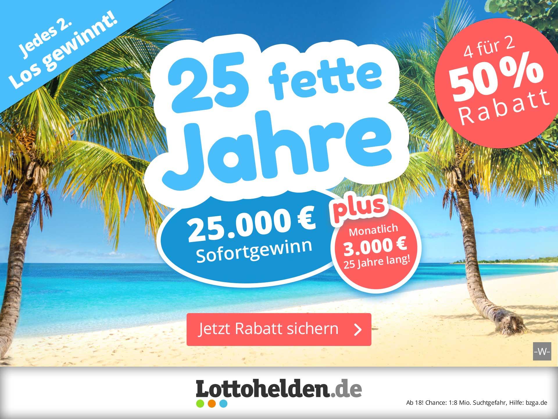Lottohelden - 4 × Rubbellos 25 fette Jahre zum halben Preis ( Neue Aktion)