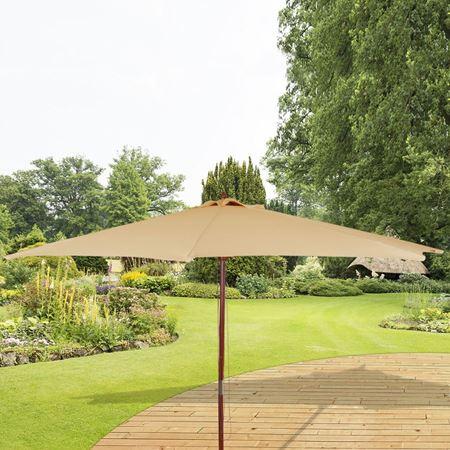 Holz-Sonnenschirm, Natur, 3 Meter, Beige  - nochmal einen Fünfer reduziert