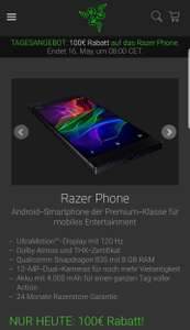 Razer Phone [100 Euro Sofortrabatt und Bluetooth Headset gratis]