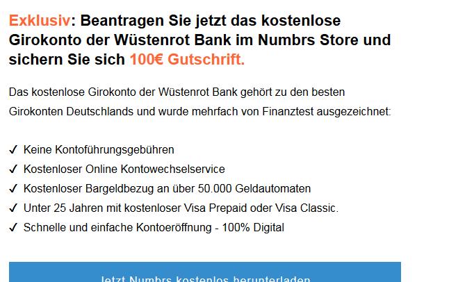 20€ für Wüstenrot Girokonto über Numbrs 100€ mit Gehaltseingang