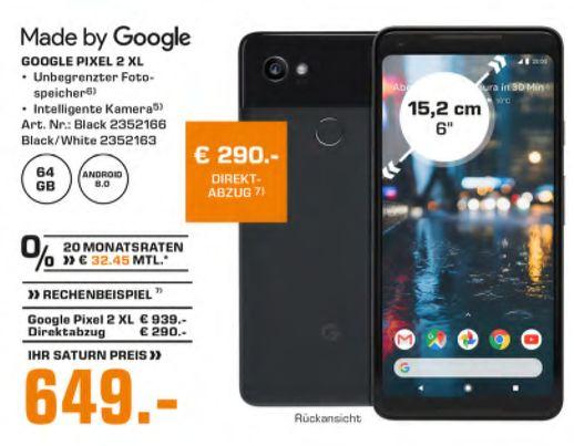 [Saturn] Google Pixel 2 XL LTE-Smartphone 15.2cm (6 Zoll) 2.35GHz, 1.9GHz Octa Core 64GB 12.2 Mio. Pixel Android™ 8.0 Oreo in 2 Farben für je 649,-€ // Powerbank 10.000mAh für 9,-€ // Sandisk Ultra A1 200GB für 55,-€