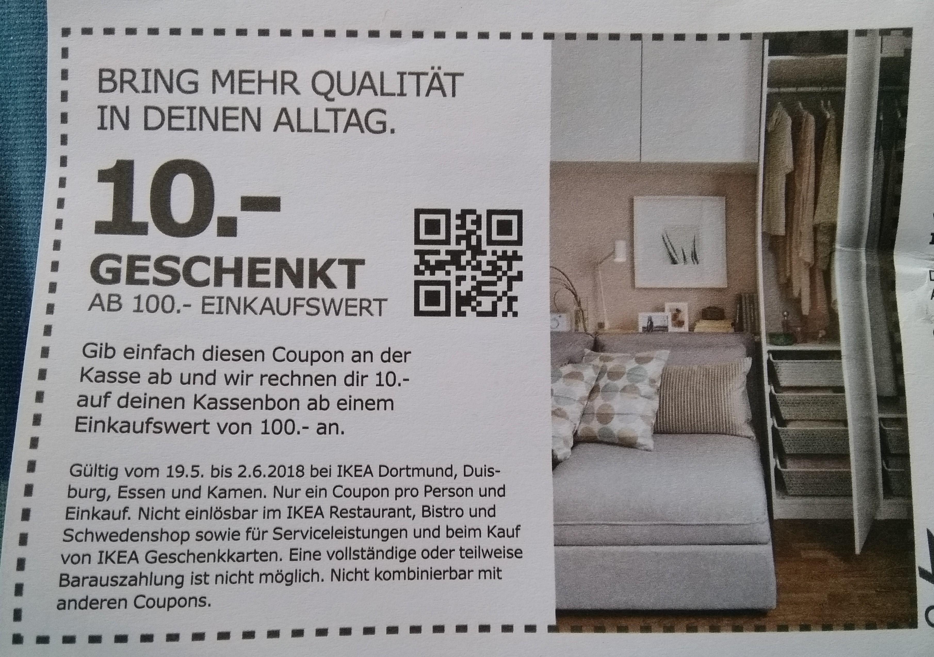 [Ikea Dortmund, Duisburg, Essen u. Kamen] 10,- Euro geschenkt ab 100,- Euro Einkaufwert