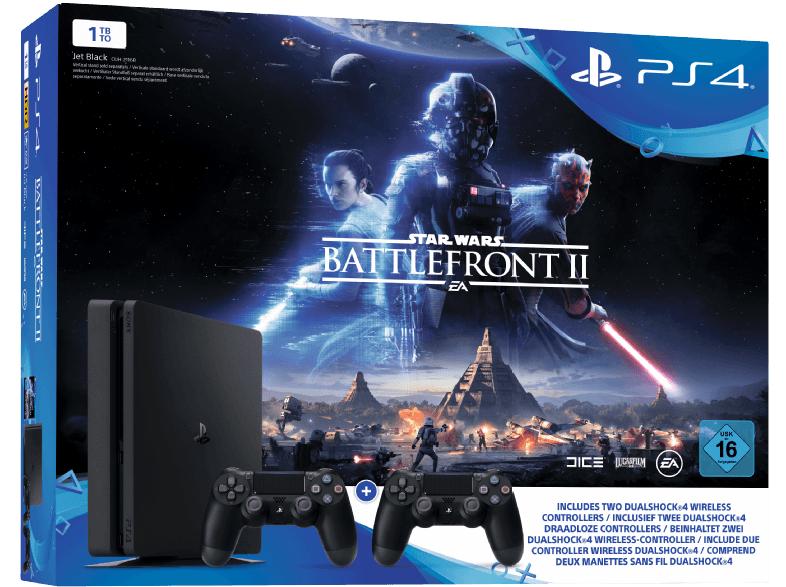 SONY PlayStation 4 1TB Schwarz + Star Wars Battlefront II + 2x DualShock4 Controller