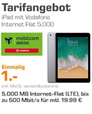 [Saturn/ Mobilcom Debitel] Apple iPad 2018 Wi-Fi + Cellular (32 GB) im Tarif Internet-Flat 5.000