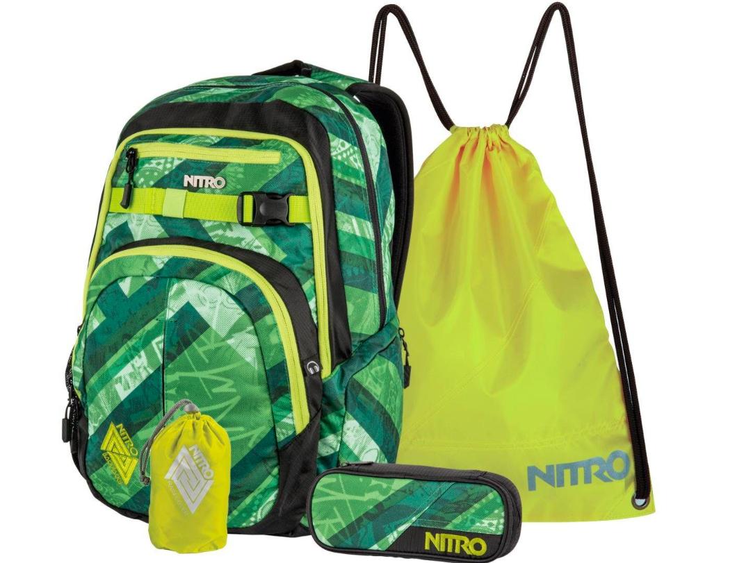 Nitro Schulrucksack-Set (Schulrucksack, Pencil Case, Raincover, Sportbeutel)