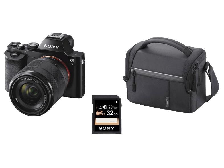 SONY Alpha 7 KB Kit + Tasche + 32 GB Speicherkarte Systemkamera 24.3 Megapixel mit Objektiv 28-70 mm