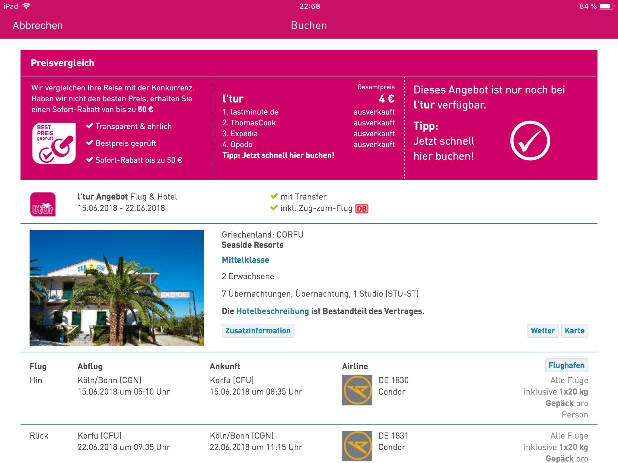 Preisfehlehr? Mit L'TUR nach Korfu für 2€ p.P.