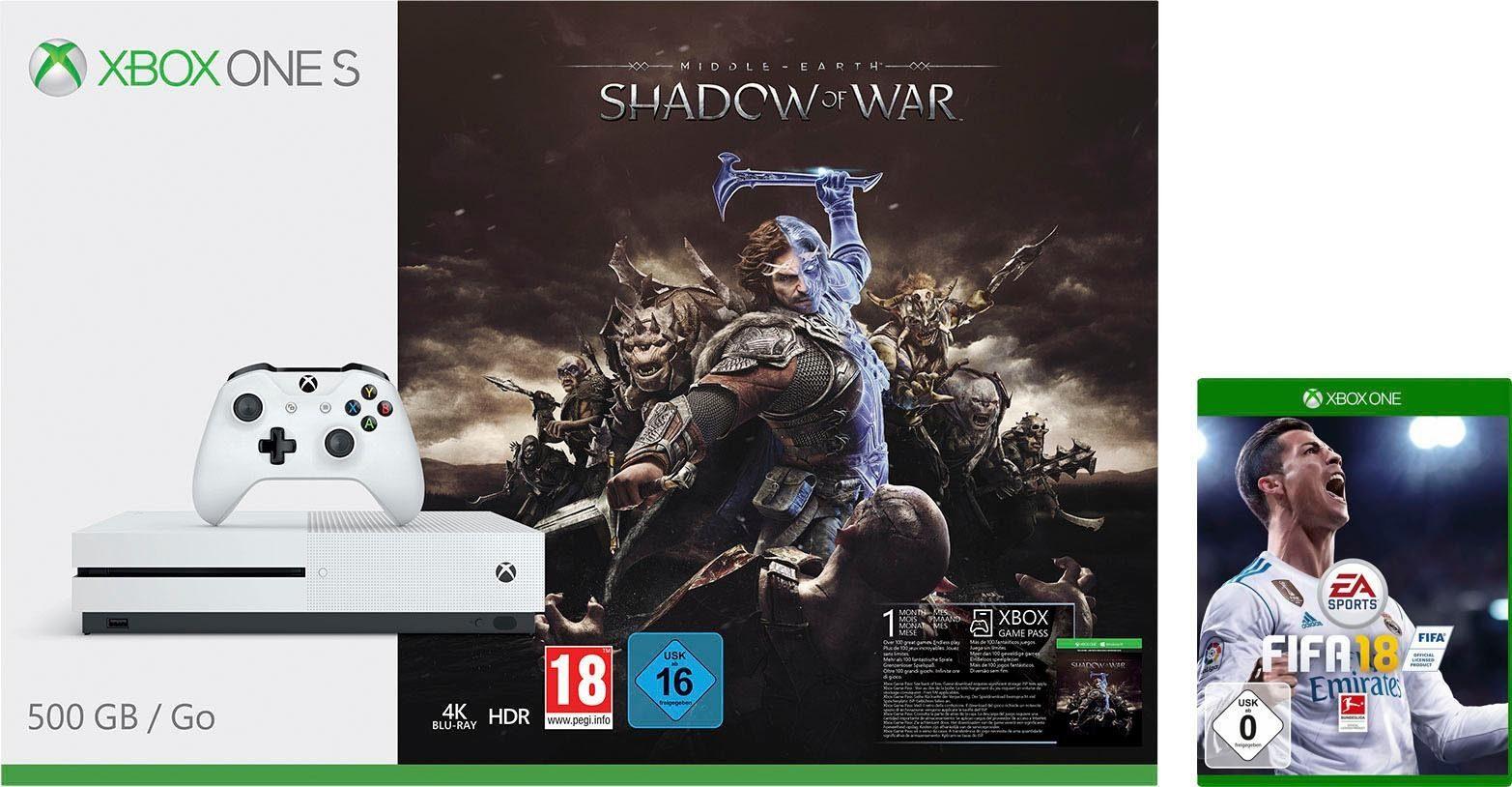 Xbox One S 500GB + Mittelerde: Schatten des Krieges + FIFA 18 für 185,94€ (Otto)