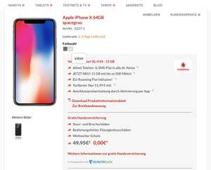 iPhone X 64 GB mit 11 GB Datenvolume