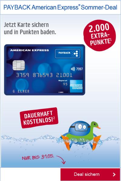 SOMMER DEAL: 2.000 Payback Punkte (=20 Euro) für die Payback American Express Kreditkarte