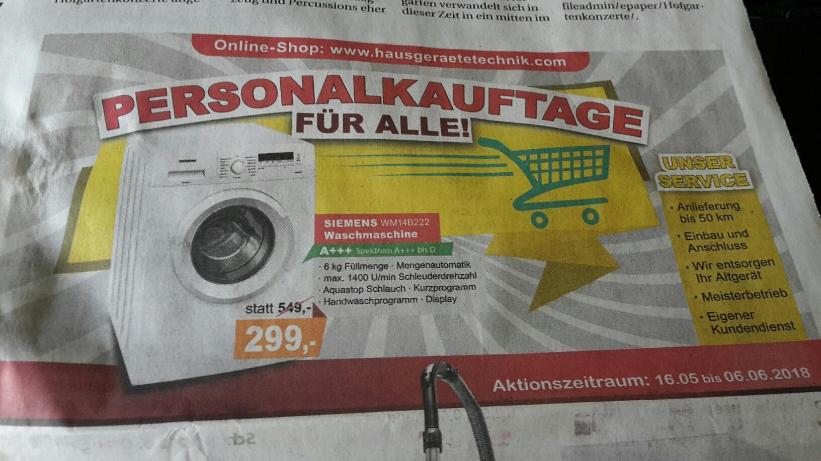 Duisburg Hausgeräte Technik Siemens Waschmaschine WM14B222