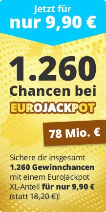 lottohelden.de Eurojackpot Systemschein XL für 9,90€ statt 18,20€