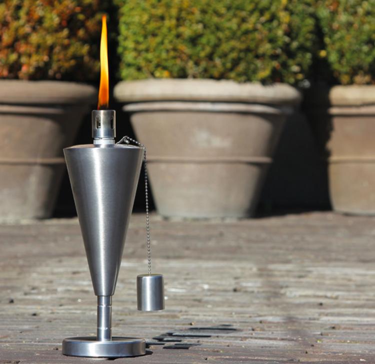 Gartenfackeln / Öllampen im 4er Pack: 18cm in Steinoptik