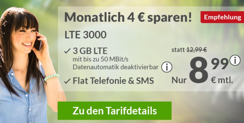 2 Tarife mit 3 GB LTE + Tel/SMS Flat (monatl. kündbar) im Telefonica (O2) Netz (Datenautomatik abwählbar) + 10€ Bereitstellungsgebühr
