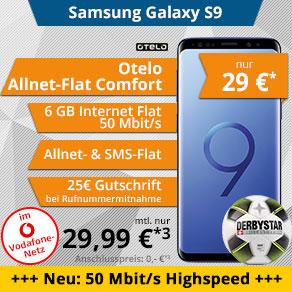 Samsung Galaxy S9 Otelo 6Gb allnet Flat im Vodafone LTE Netz für eff. 748,76 €/ 24 Monate