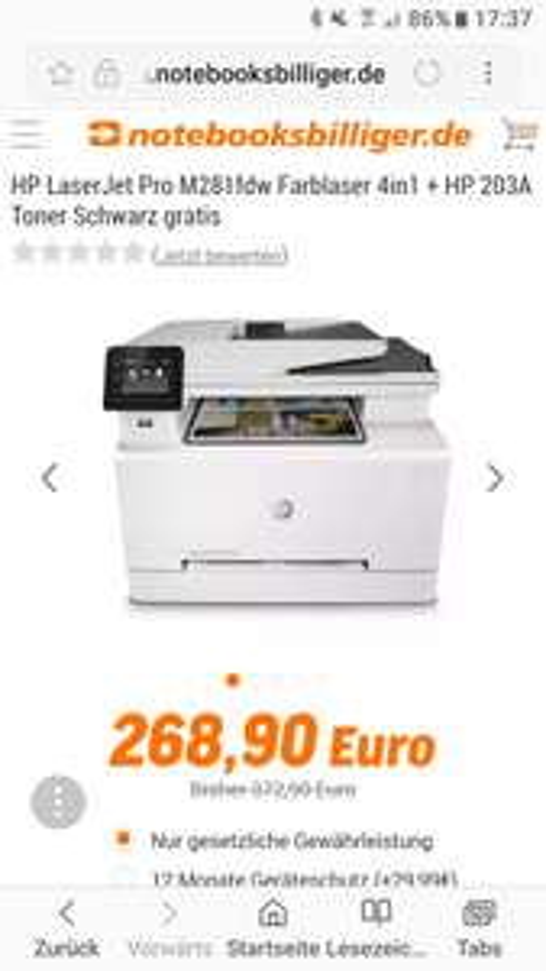 Hewlett-Packard HP Color LaserJet Pro MFP M281fdw + Gratis Toner schwarz im Wert von 50 Euro