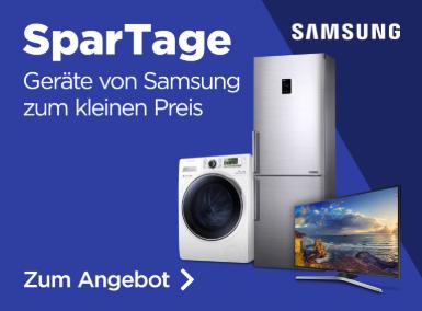 Samsung Spartage - Samsung MU8009 (55 Zoll, 4K, Smart TV) für 879 €, The Frame UE-43LS003 (43 Zoll, Art Mode 4K/UHD-Smart TV) für 949 €; RS7568BHSCP/EF Side-by Side Kühlschrank für 999€, WW80J3473KWEG 8kg Waschmaschine mit A+++ für 319 € (AO.de)