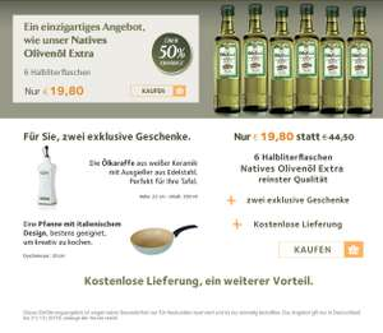 (Fratelli Carli) Neukundenangebot: Olivenöl (6x0,5) + Pfanne + Karaffe?