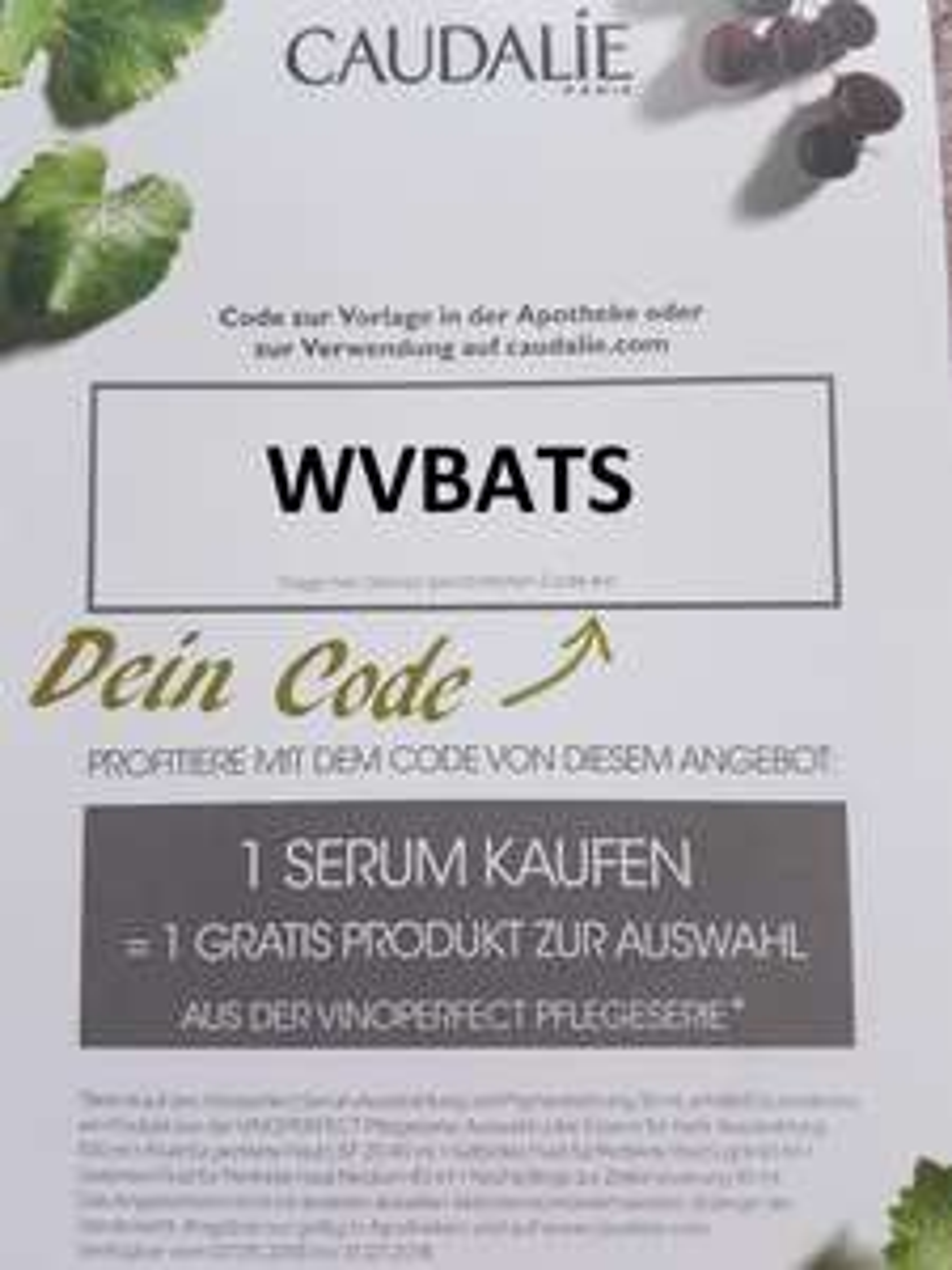 Caudalíe Paris Gratisprodukt beim Kauf des Vinoperfect Serum 30ml