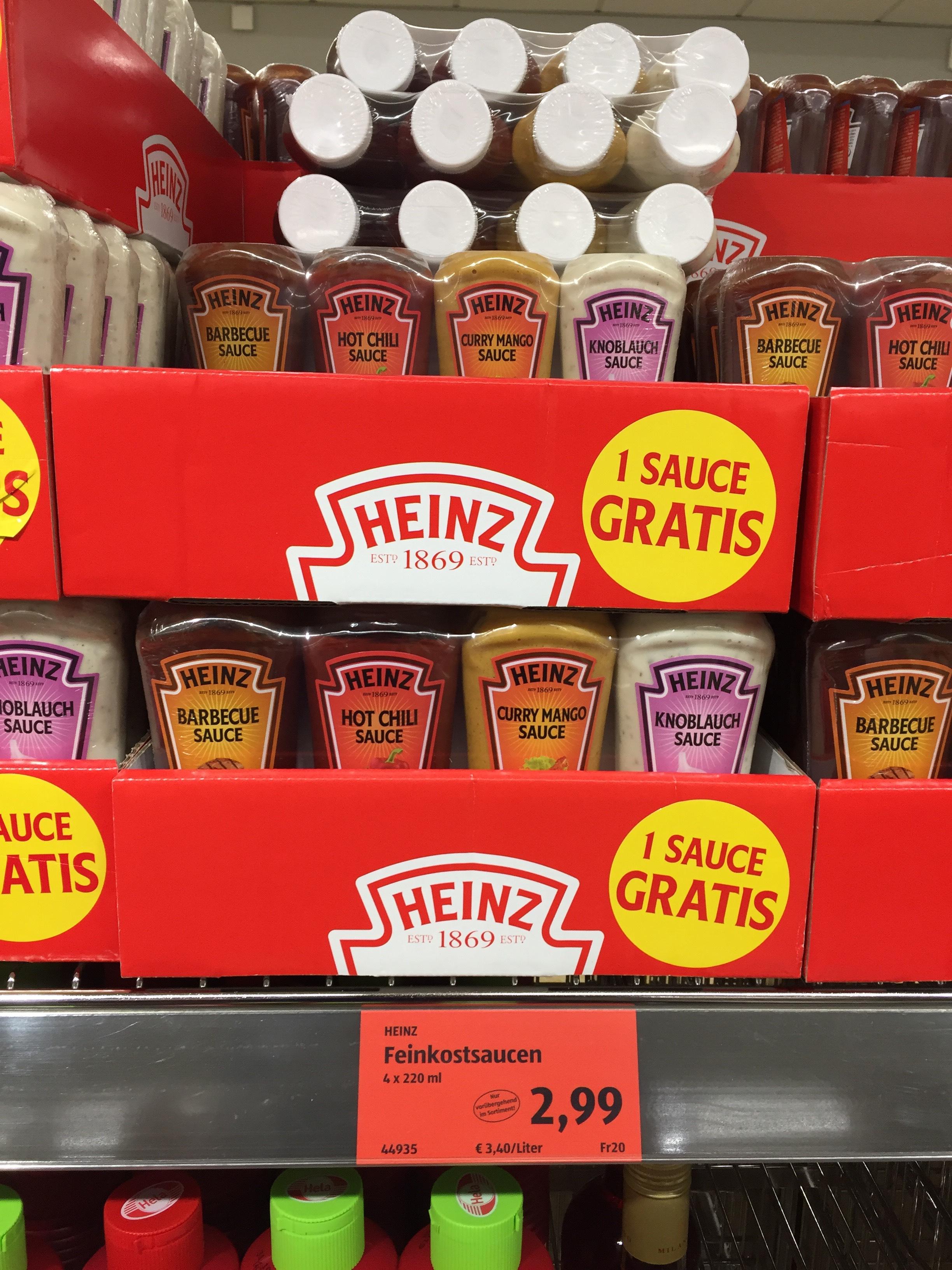 [Aldi Süd] 4x Heinz Feinkostsauce (Grillen) für 2,99€ (0,75€/Flasche)