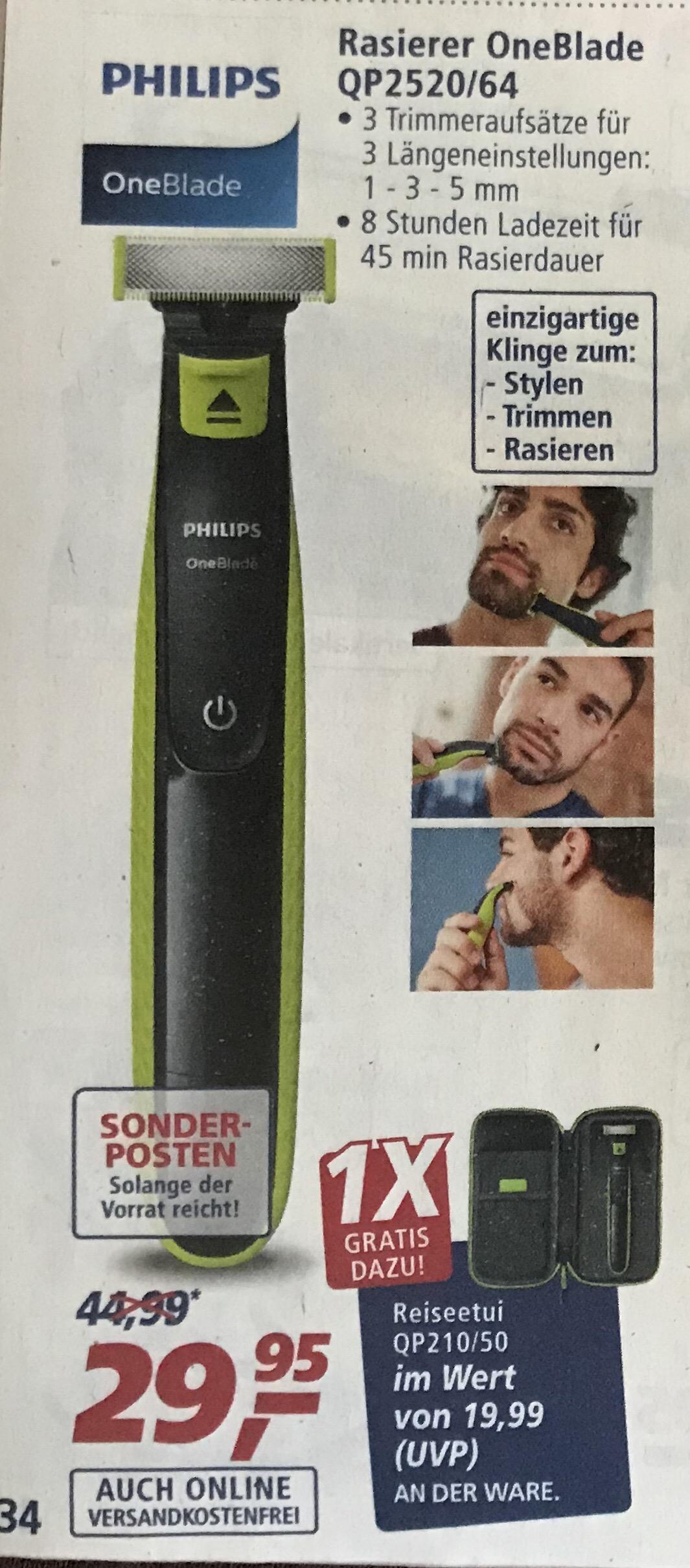 (Real ab 22.05.18) Philips OneBlade QP2520/64 für 29,95 EUR plus Reiseetui QP210/50 im Wert von 19,69 EUR gratis dazu