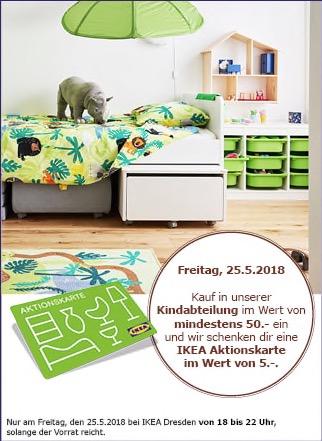 (Lokal IKEA Dresden) 5€ Gutscheinkarte bei Einkauf in der Kindabteilung ab min. 50 €