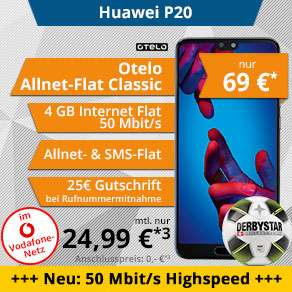 Tophandy/Talkthisway: Huawei P20 mit Otelo Allnet-Flat Classic Speed 4GB im Vodafone LTE-Netz