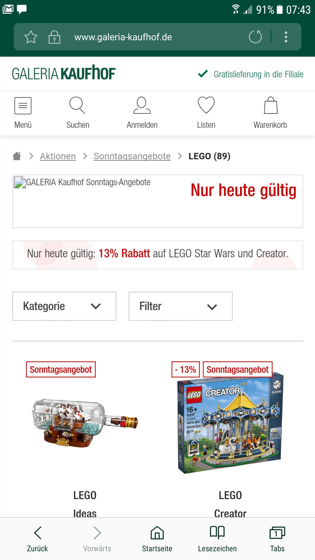 Sonntagsdeal bei Galeria Kaufhof - 13% und mehr auf Lego Star Wars und Creator, z.B. Falcon 75192 für 695.99