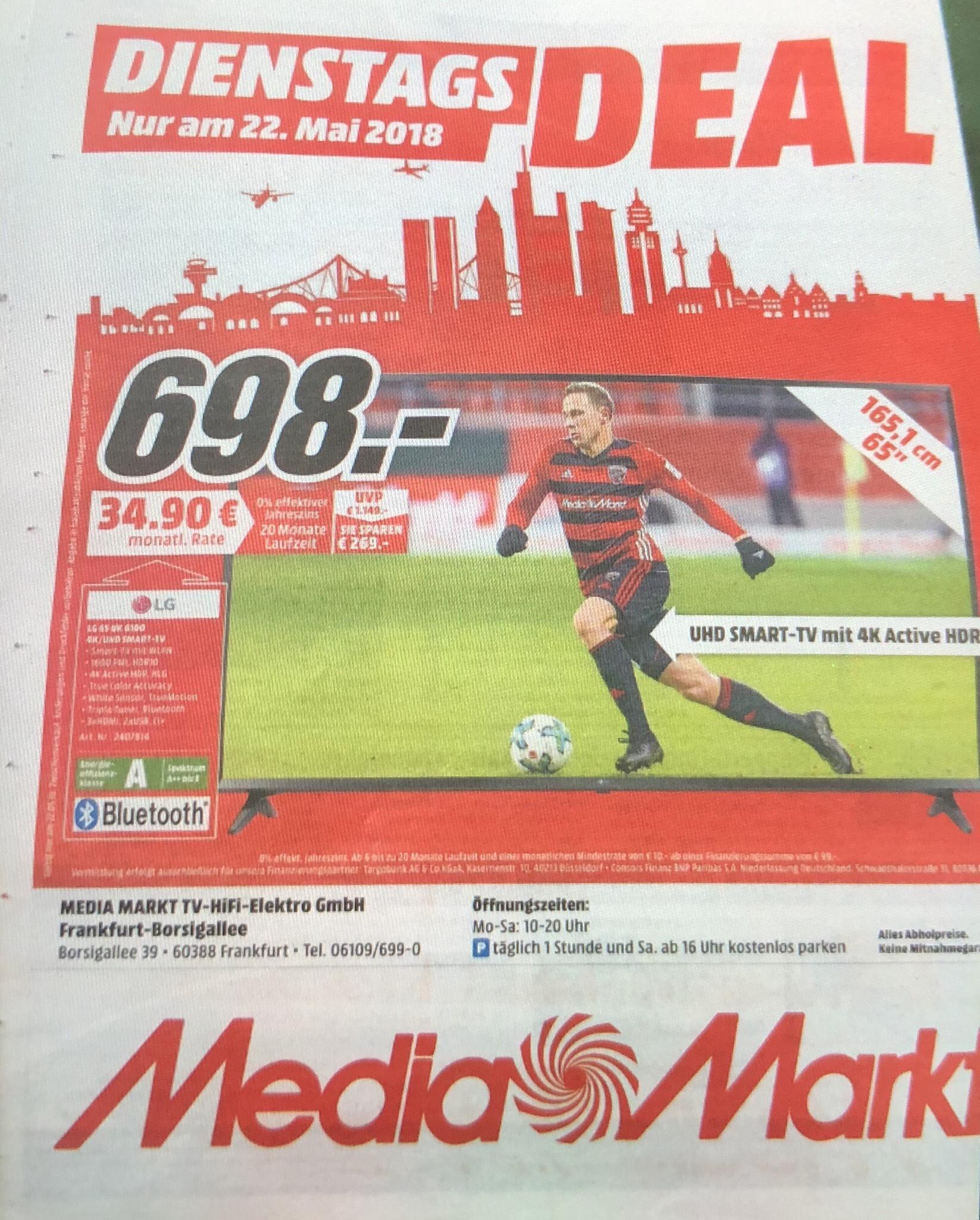 "LG 65UK6100 UHD TV ""DienstagsDEAL"" nur am 22.Mai.18 im Mediamarkt Borsigallee Frankfurt"